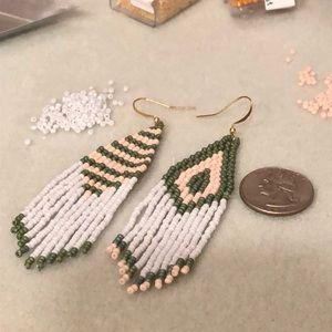 Handmade beaded fringe earrings